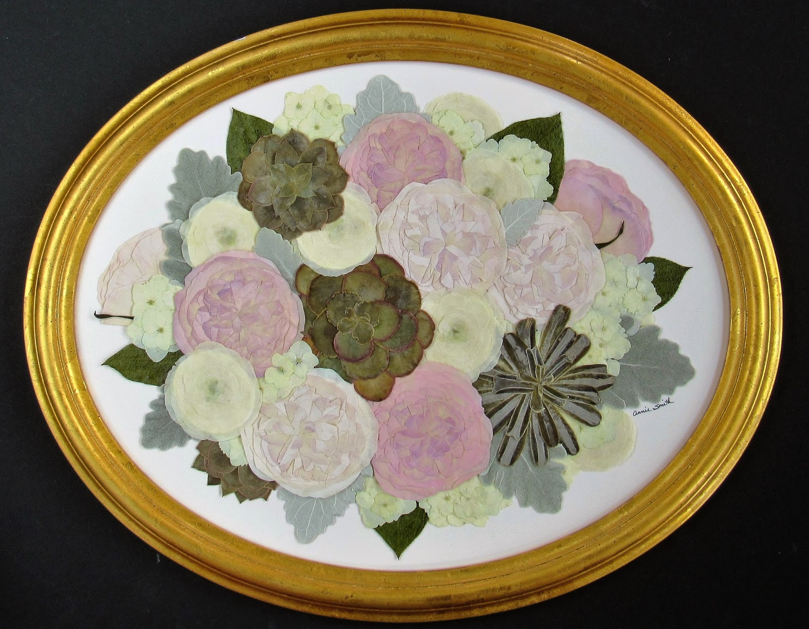 Wedding Bouquet Preservation Hawaii : Pressed garden succulents in a bed of fragrant roses