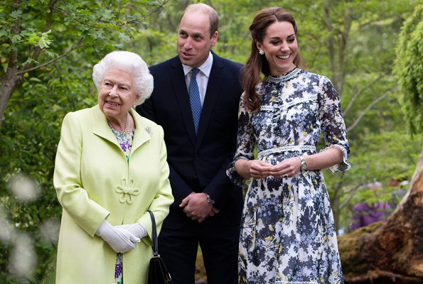 Kate Middleton, The Duchess of Cambridge, wore Erdem Shebah floral cotton-silk gown. Queen Elizabeth