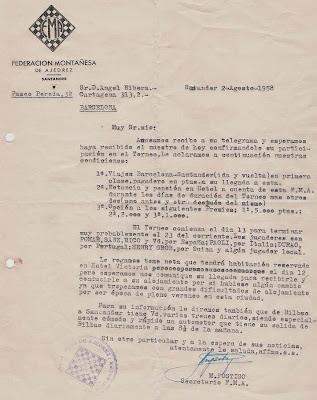 Invitación enviada a Ángel Ribera para participar en el I Torneo Internacional de Santander 1958
