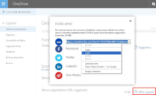 Creare invito a OneDrive per ottenere spazio gratis