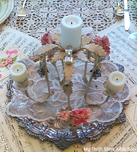 repurposed vintage chandelier centerpiece