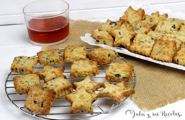 Galletas saladas de queso y aceitunas. Julia y sus recetas