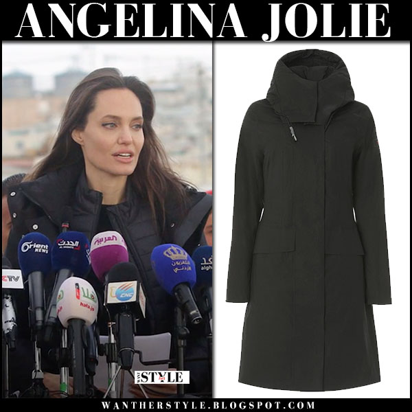 Angelina Jolie in black parka peuterey winter fashion january 28