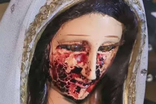 Virgin Mary statue cries blood