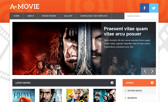 A movie blogger template responsive