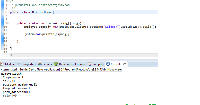 Builder design pattern in java with example program