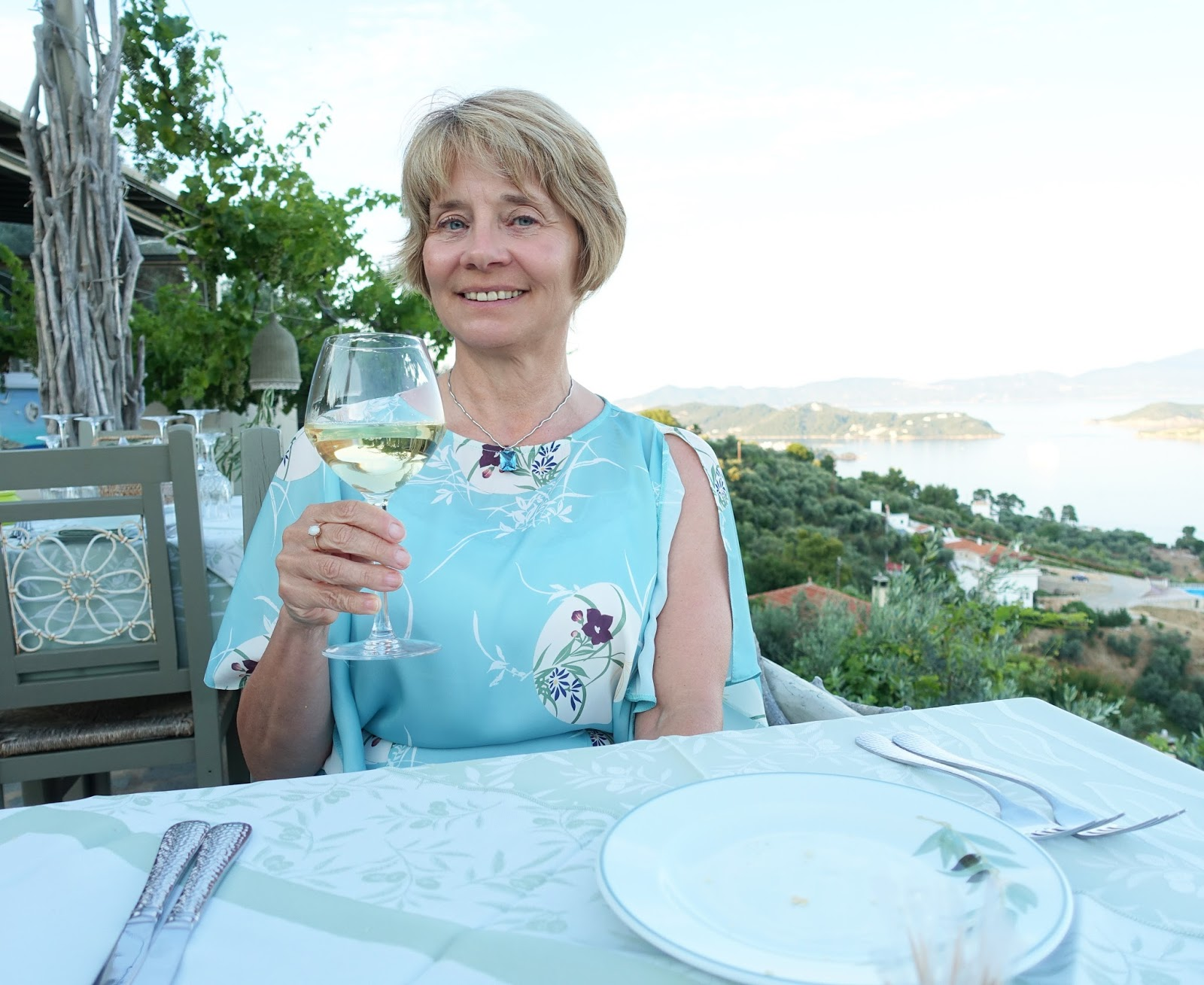 Drink in that view: Is This Mutton's Gail Hanlon at Olive Thea, Skiathos