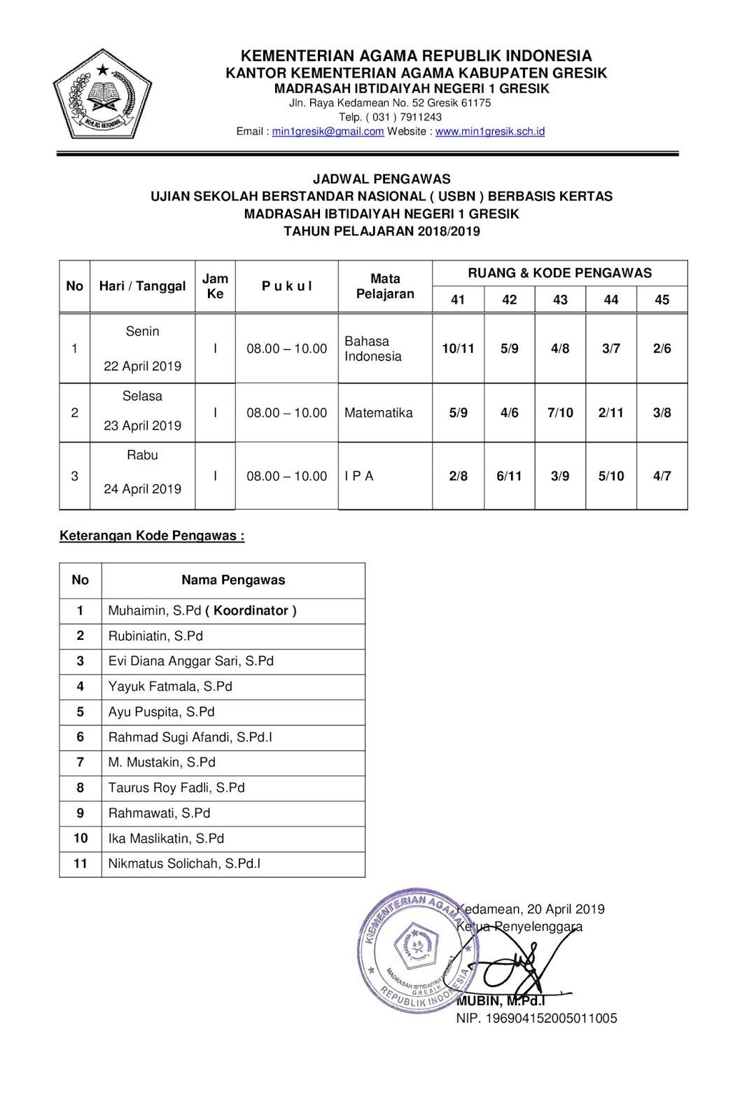 jadwal ujian sekolah berstandar nasional (usbn) tahun pelajaran 2018/2019