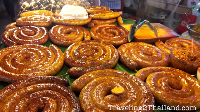 Northern Thai sausages in Lampang, Thailand