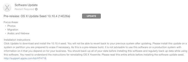 OS X Yosemite 10.10.4 Beta 4 (14E26a) Features and Changelog