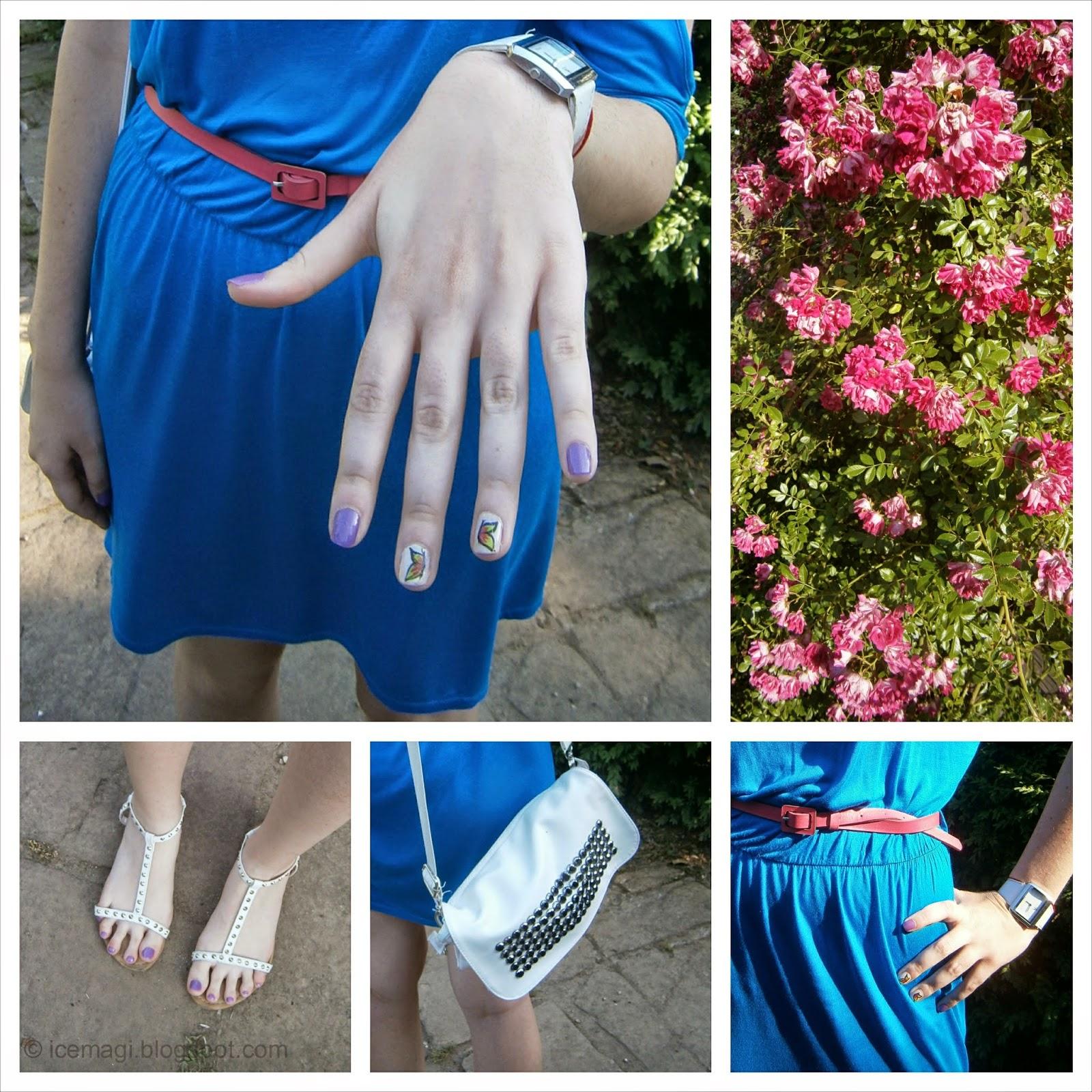 blue dress and butterflies