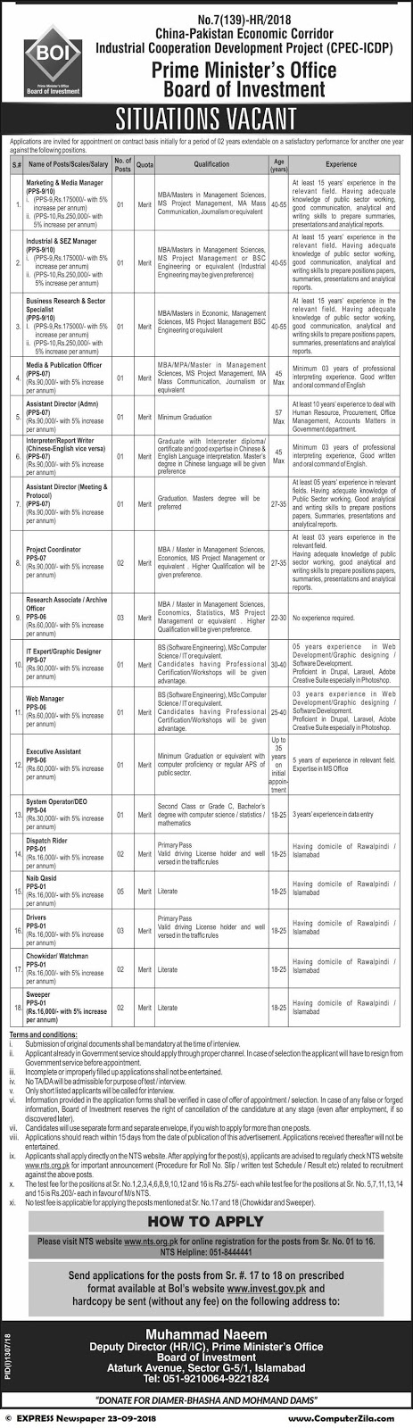 Situations Vacant at Prime Minister's Office Board of Investment