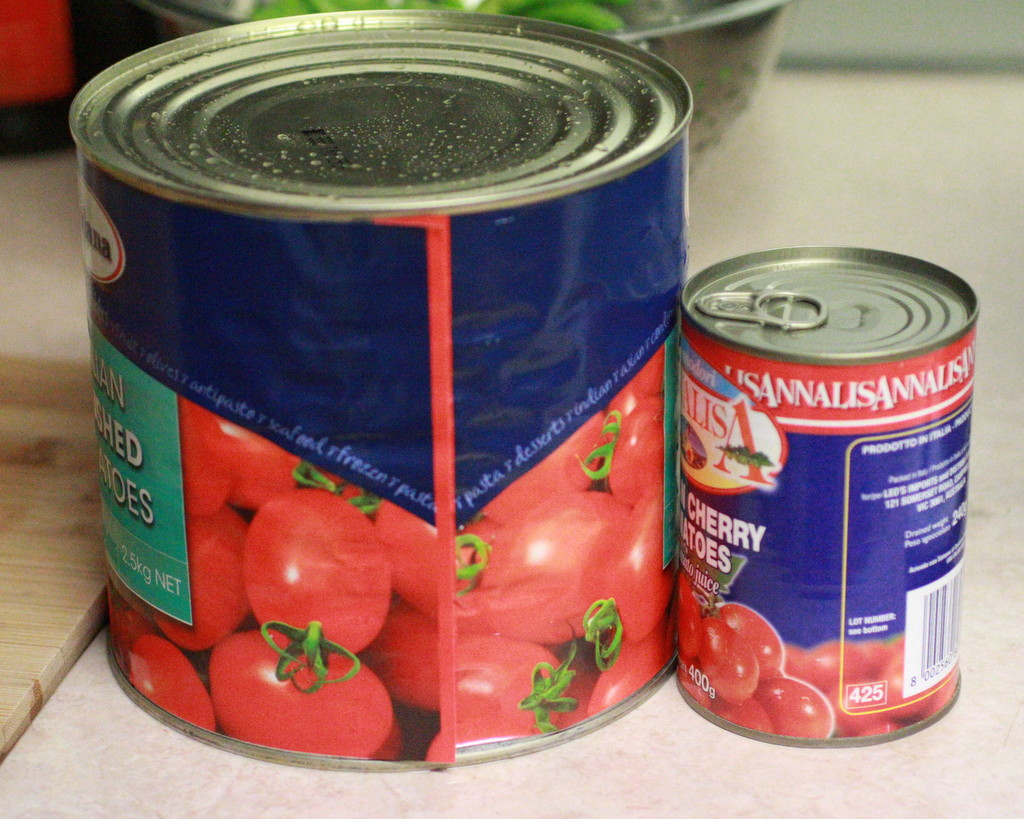 giant tin of tomatoes