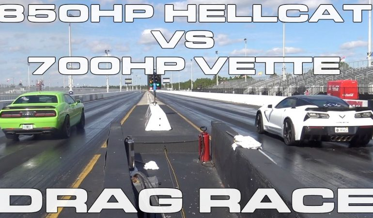 850HP Challenger Hellcat Vs 700HP Supercharged Corvette Drag Race...Βίντεο!!!