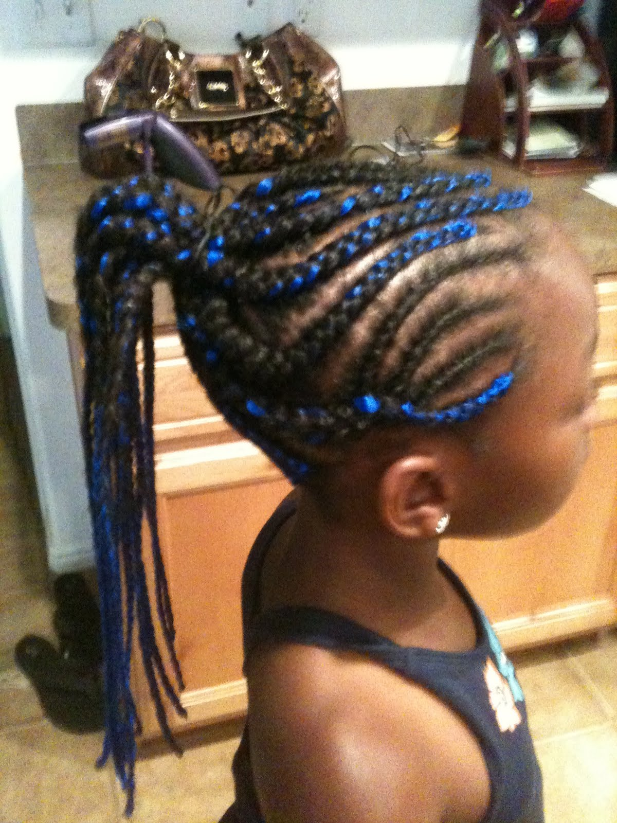 Cornrows Braids Extensions Blue Cornrow Ponytail