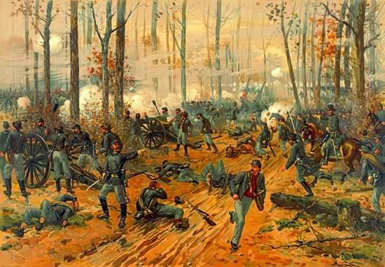 batalla de Shiloh como se muestra en una cromolitografía de Thure de Thulstrup, c. 1888.