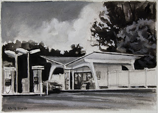 Black and white gouache painting of a gas station