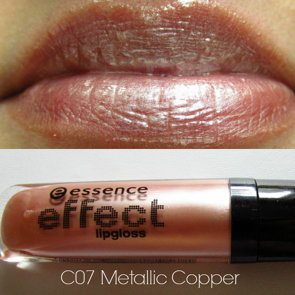 essence effect lipgloss c07 metallic copper swatch