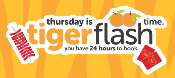 虎航 週四「Tigerflash」澳門飛新加坡 HK$499起,5月出發,限賣24小時。