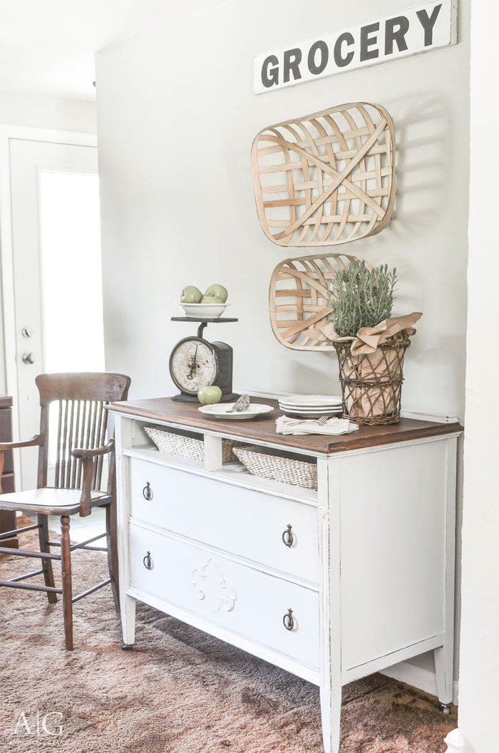 See how to create a farmhouse style dining room buffet or entryway table using an antique dresser.  |  www.andersonandgrant.com