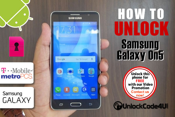 Network unlock Samsung Galaxy On5 locked to T-mobile