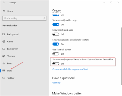 How to Enable Or Disable Jump Lists In Windows 10