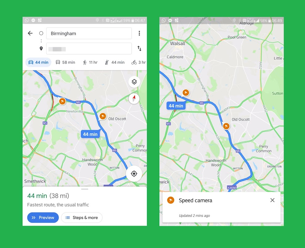 Speed trap info and vocal warnings are rolling out on Google Maps for some android users
