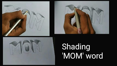 Shading mom word, Mother's day drawing, step by step tutorial, mom drawing with pencils, happy mother's day, Mother's day pencils drawing