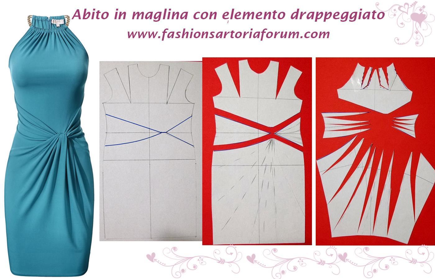 Favorito FASHION & SARTORIA: ABITO IN MAGLINA CON DRAPPEGGIO - Modellistica PT41