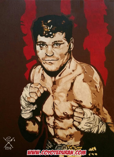 "Former undisputed junior middleweight champion Denny Moyer, acrylic paint on 12"" X 16"" canvas panel, by artist Coyote Duran"