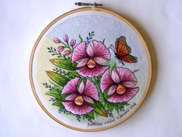 pink cattleya embroidery