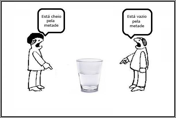 dois homens discutindo se um copo está cheio ou vazio