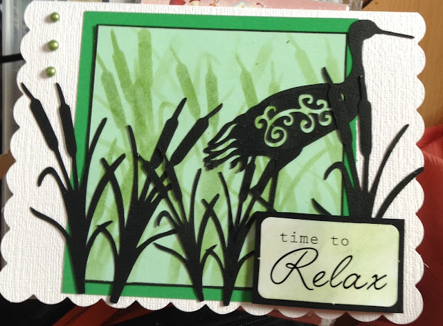 Time to Relax - Oriental grasses and crane C5 scalloped card