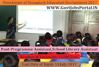 Directorate of Secondary Education of Tripura Recruitment 2017– 12000 Programme Assistant, School Library Assistant