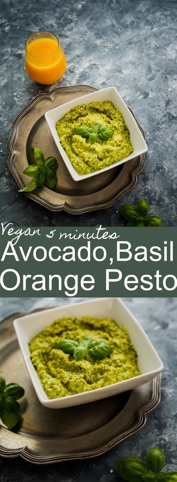 Healthy and easy to prepare Pesto-this recipe uses avocado, basil and orange juice to make the most delicious and vegan pesto!
