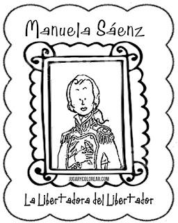 dibujo de Manuela Sáenz compañera sentimental de Simón Bolívar,