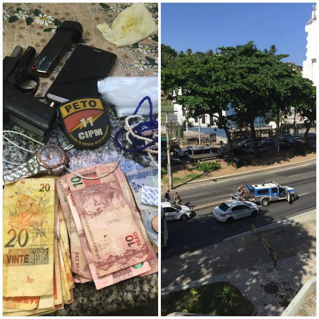 Troca de tiros entre polícia e traficante em frente ao Hotel Bahia Othon Palace