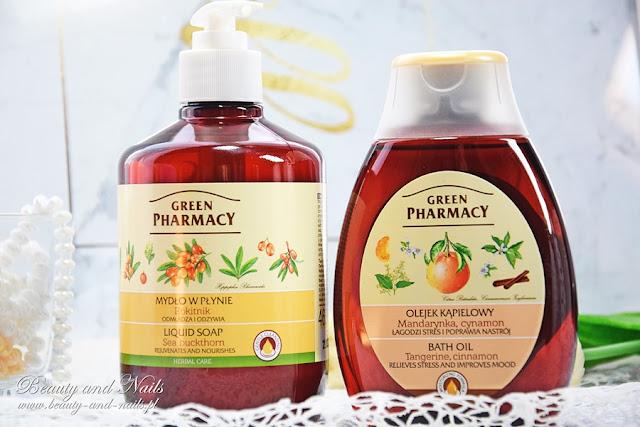 GREEN PHARMACY, mydło w płynie i olejek kąpielowy.
