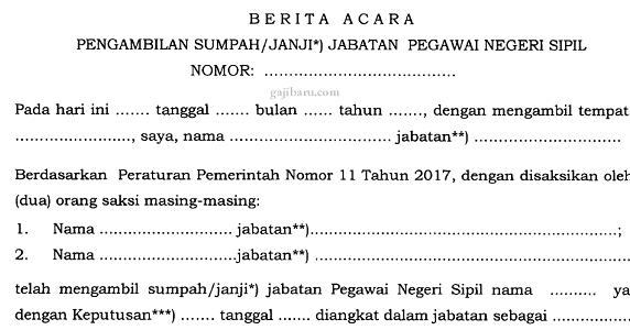 Contoh Berita Acara Sumpahjanji Jabatan Pns Gajibarucom