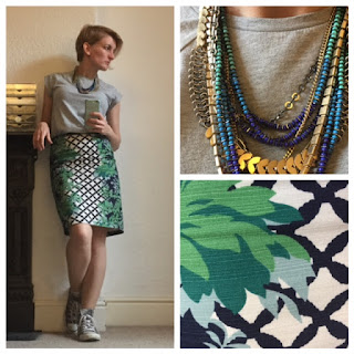 Boden print pencil skirt, grey mark t-shirt, Stella and Dot necklace