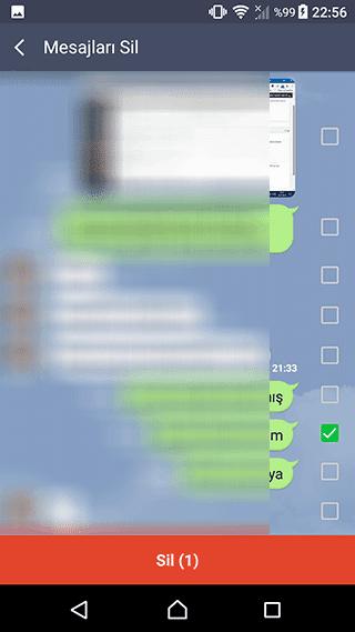 line sadece tekil ekrandan mesaj silme