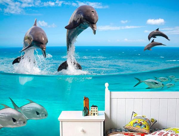 Aquarium Taustakuva Vedenalainen delfiini Valokuvatapetti Kalastajan akvaario