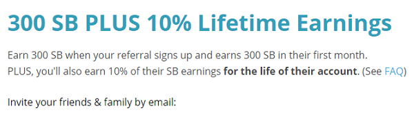 Reffer & earn free sb points