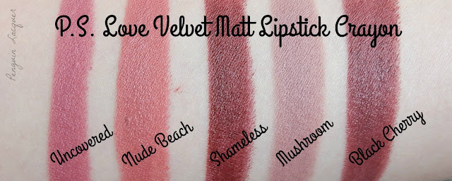 ps love velvet matte lipstick crayon swatches