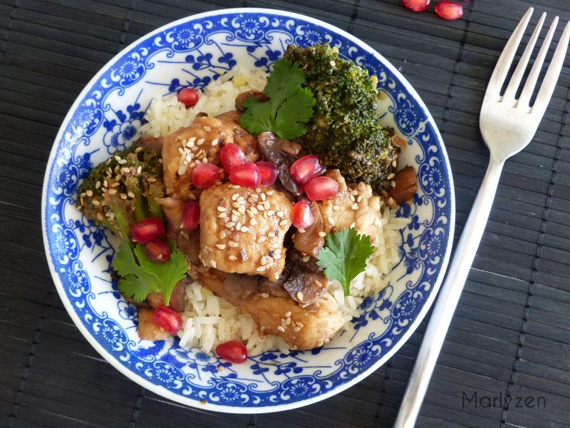 Poulet à la grenade et riz au gingembre