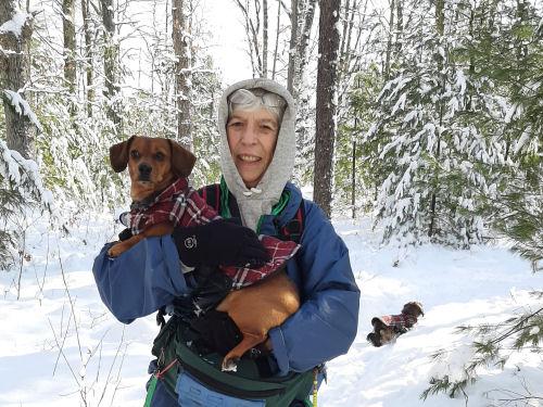 hiker holding dacshund