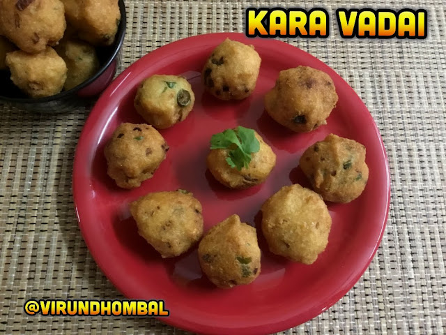 Kara Vadai | Tea Kadai Kara Vadai - Pattani paruppu bonda - Evening Snacks - Kara Vadai - simple evening snack for your weekend and party appetizer too. This Kara Vadai is very easy to make using very few ingredients. It is made with pattani paruppu (yellow split peas), urid dal and rice flour. The vadais are flavoured with green chillies, coriander leaves, mint leaves and onions. Kara Vadais with crispy outer layer and tender texture make this as a special one.
