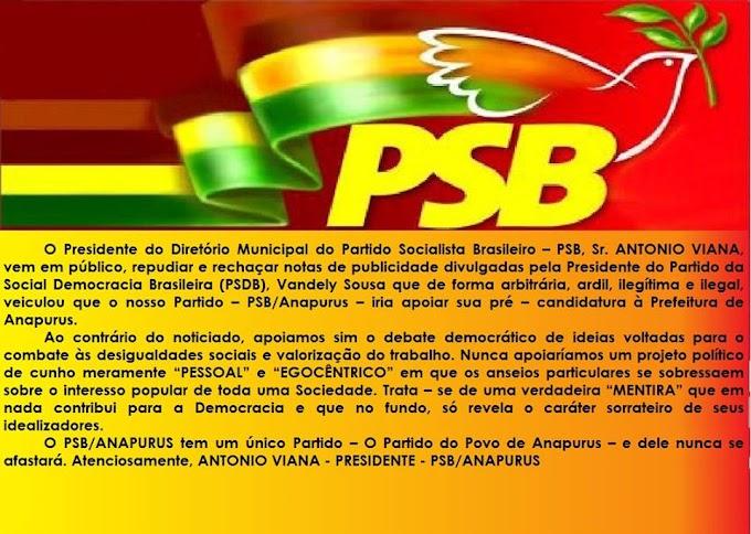 Anapurus: Presidente do PSB emite nota desmentindo informações divulgadas por opositores