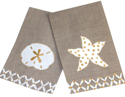 Coastal Linen Towels with Gold