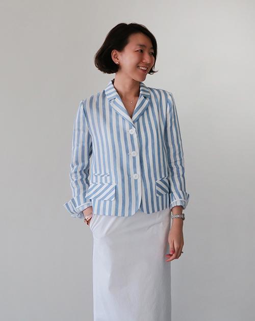 Short Stripe-Patterned Blazer